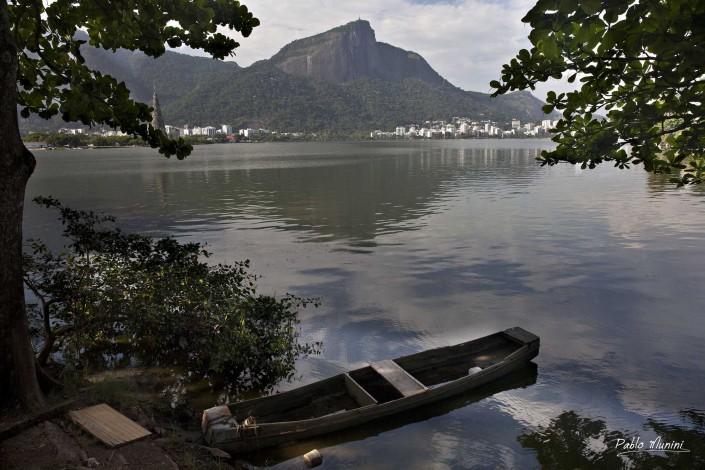 Lagoa Rodrigo de Freitas, a boat and the reflection of Corcovado mountain, Pablo Munini