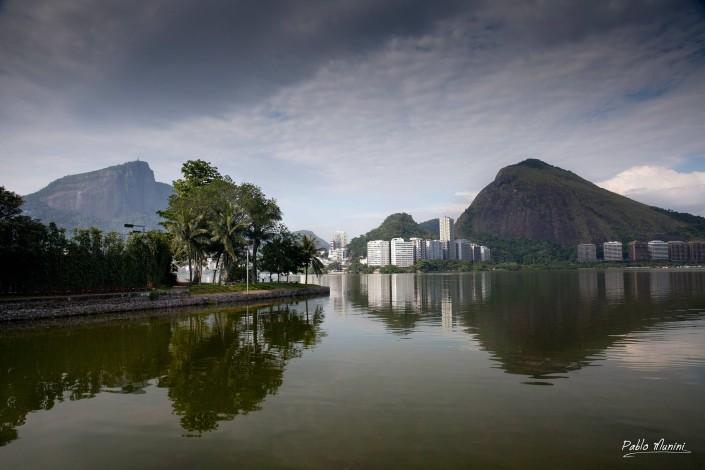 Lagoa Rodrigo de Freitas, mountainous skyline reflection on the lake.Pablo Munini