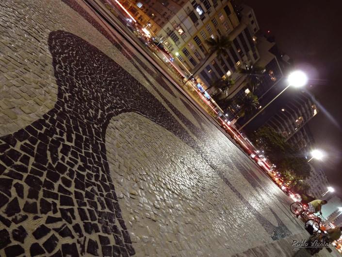 slight rainy night on Rio's famous boardwalk, Copacabana.Pablo Munini.