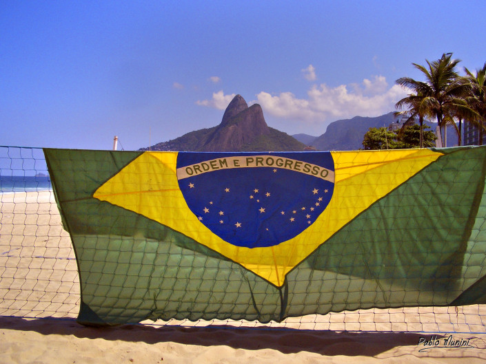 brazilian flag and Two brothers mountain, Ipanema,Rio de Janeiro. Pablo Munini