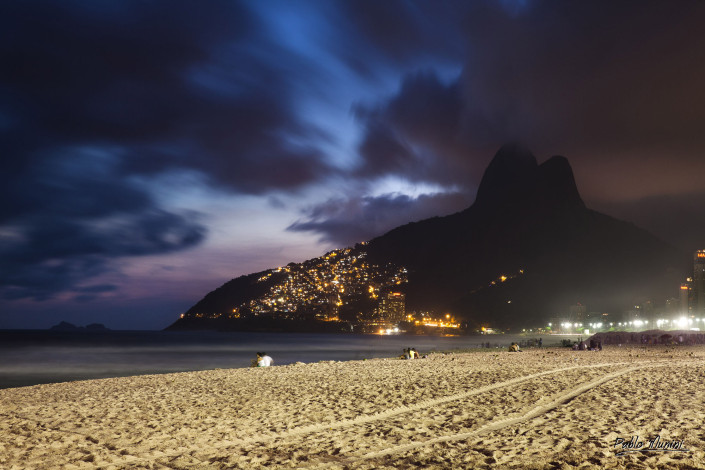 night view of Two brothers (Morro Dois Irmãos,) from the beach in Ipanema.Pablo Munini