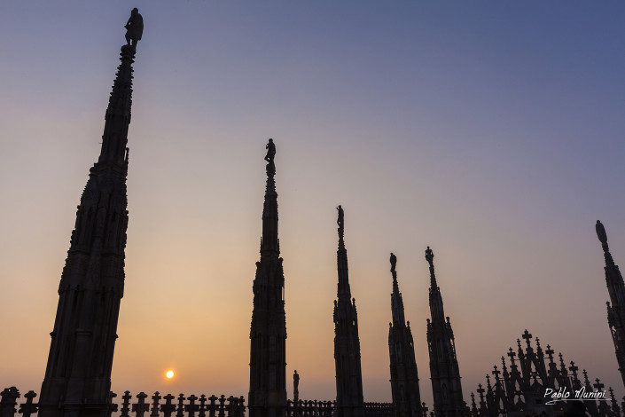 Sunset among the forest of spires at the roof of the cathedral in Milan.Pablo Munini