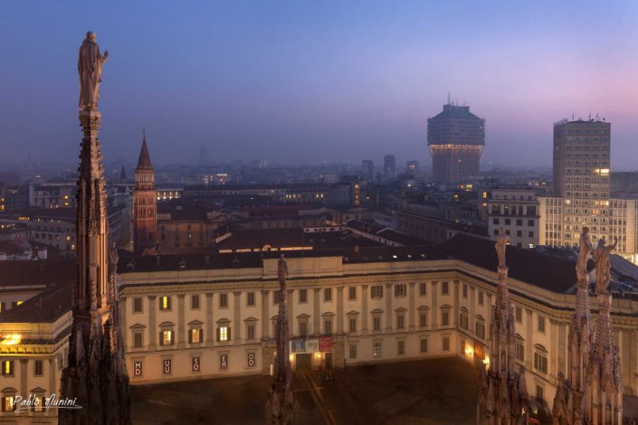 Milan's skyline , view from the roof of the cathedral. Palazzo Reale and Velasca building.Pablo Munini