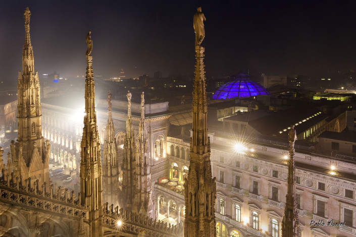 forest of spires and the view of Galleria Vittorio Eamanuele at night.Pablo Munini