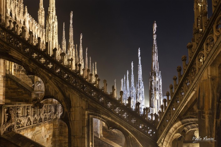 Flying buttress and ornately carved stonework on the roof of the Duomo Milano. Pablo Munini