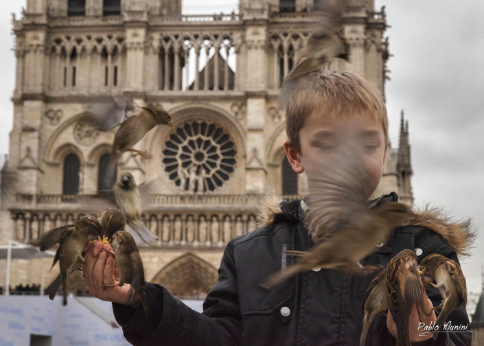 feeding the pigeons in front of Notre Dame Cathedral. Paris.Pablo Munini