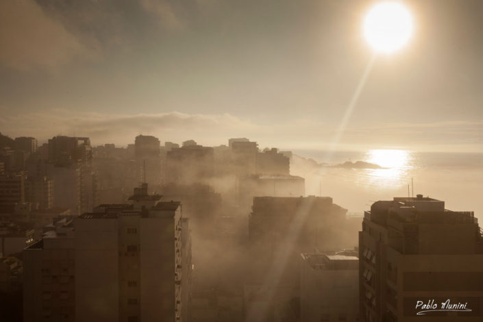 view of Ipanema buildings and the sea at dawn.Pablo Munini