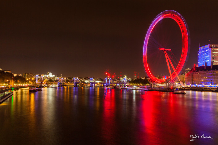 river bank opposite the London Eye by night.best London night photography.thames night view.river thames by night. world travel photography. street london photography.