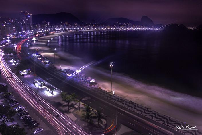 Elevated view Copacabana beach night, Rio de Janeiro.Pablo Munini