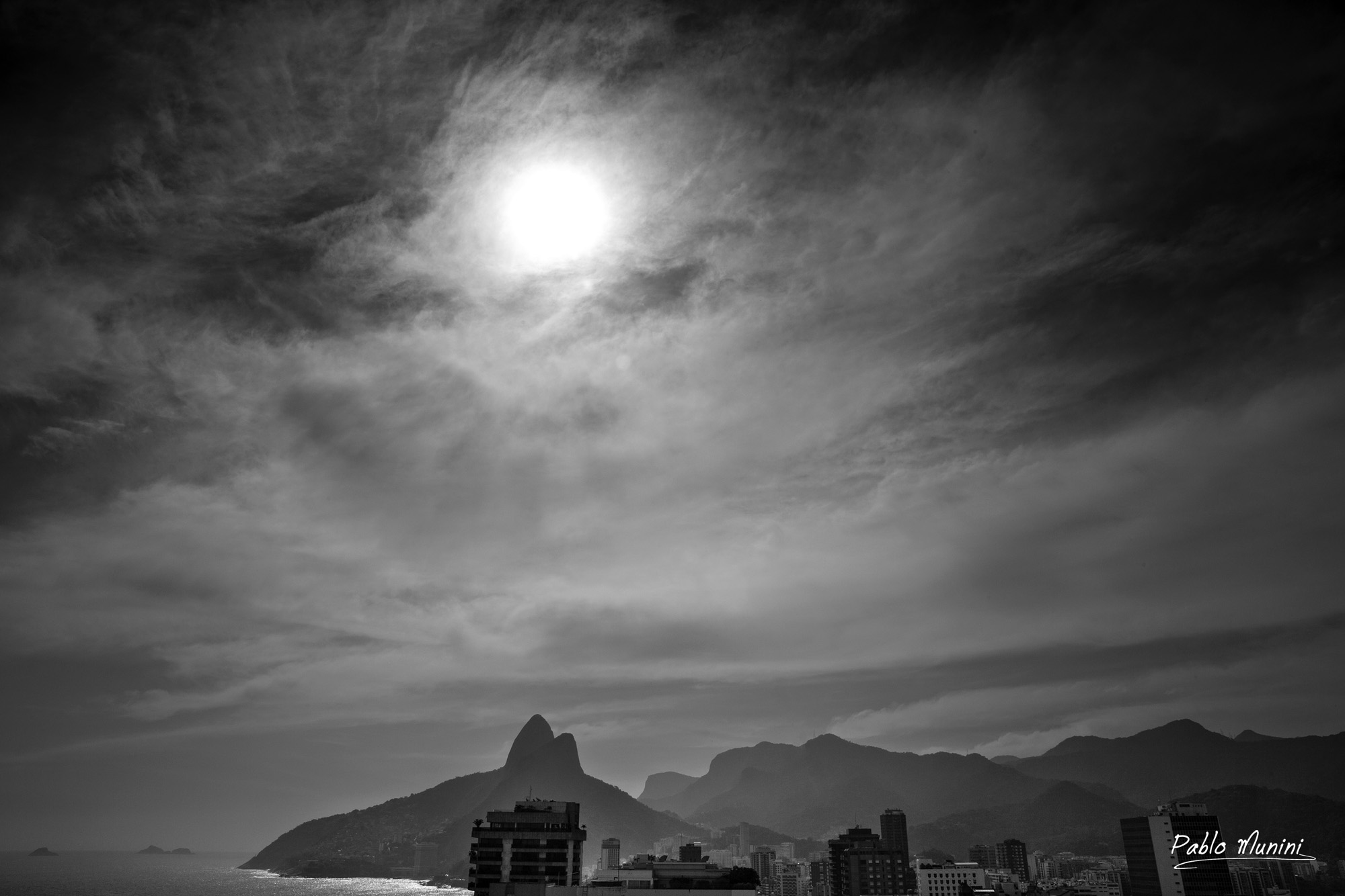 Skyline in ipanema backdrop two brother mountains rio pablo munini