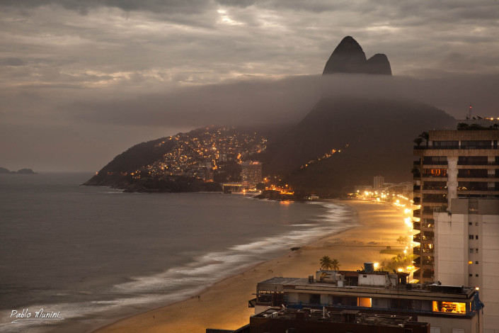 Ipanema and Leblon beach at early evening with Two brothers, 2013.Pablo Munini