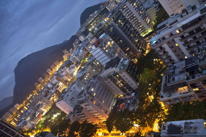 elevated view residential buildings and mountains, Rua Maria Quiteira, Ipanema, 2013