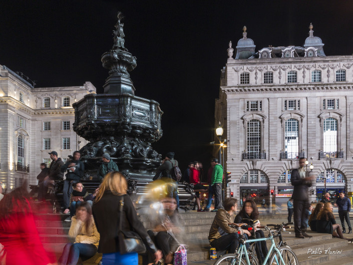 statue of Eros in Piccadilly Circus at night. London urban photography. London travel photography. London street night images.Best Photography locations London Picadilly Circus.