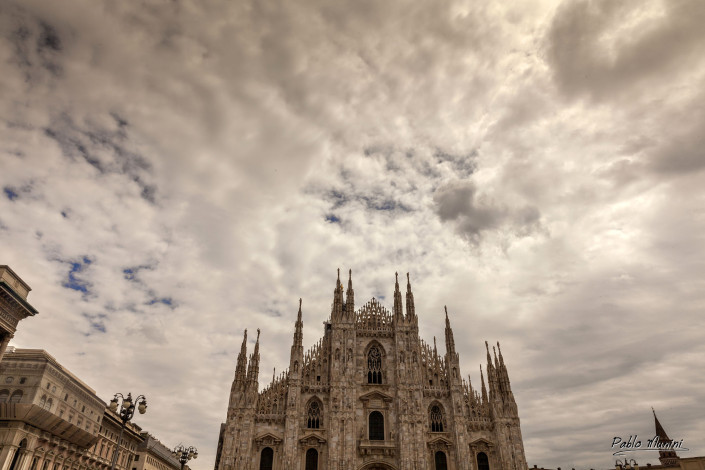 view of the facade of Milan Cathedral from opposite side of the square,Pablo Munini