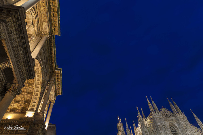 Galleria Vittorio Emanuele II and the front facade of the cathedral, Milan 2014