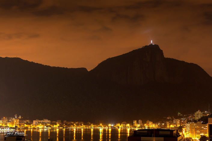 Corcovado and Christ the Redeemer (Cristo Redentor) night view.Pablo Munini