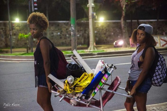 beach workers leaving Ipanema at night. Pablo Munini
