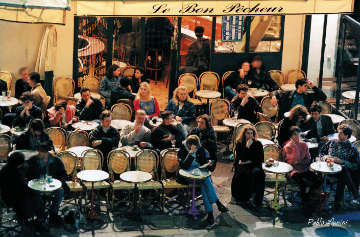 terrase Le Bon Pêcheur ,Analog Photography Paris in the '90s. Pablo Munini