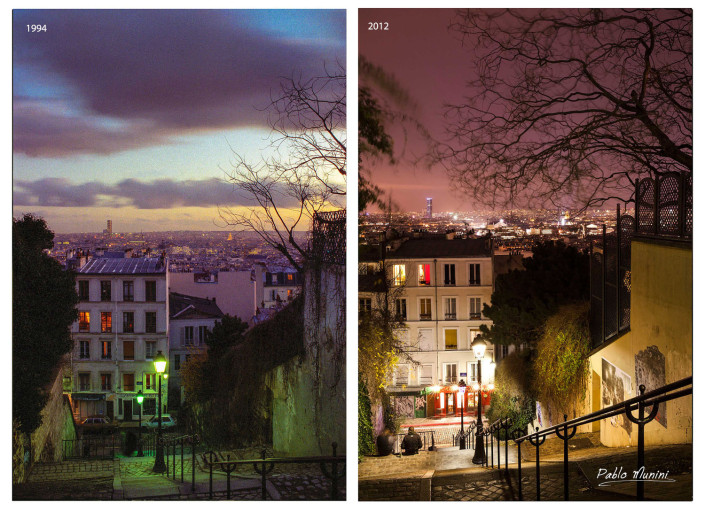 Stairs of Montmartre by night. analog version in 1994 and digital version in 2012.Pablo Munini