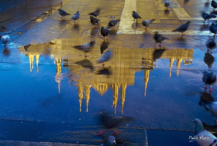 Reflections of Milan cathedral façade after the snow has melted, winter 2004. Pablo Munini