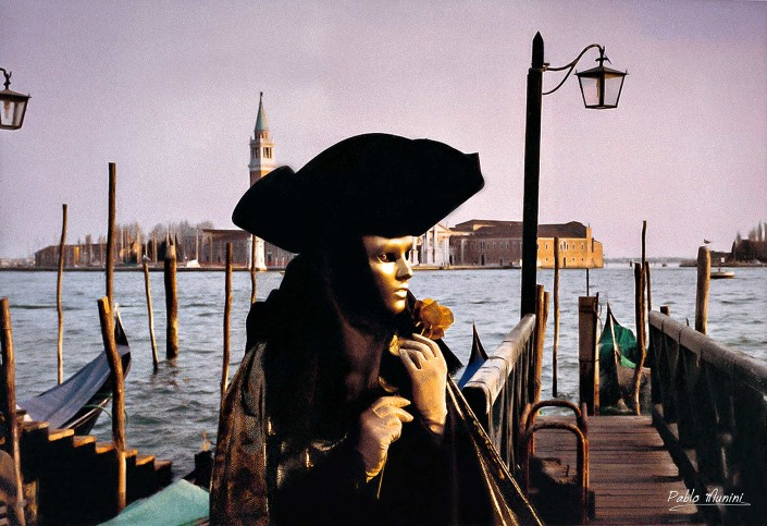 Molo di San Marco (San Marco basin square),Analog photographies Carnival of Venice 1993