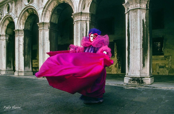 Doge's Palace Courtyard, Carnival of Venice 1993 . .Analog photographies of the Carnival of Venice 1992 -1998