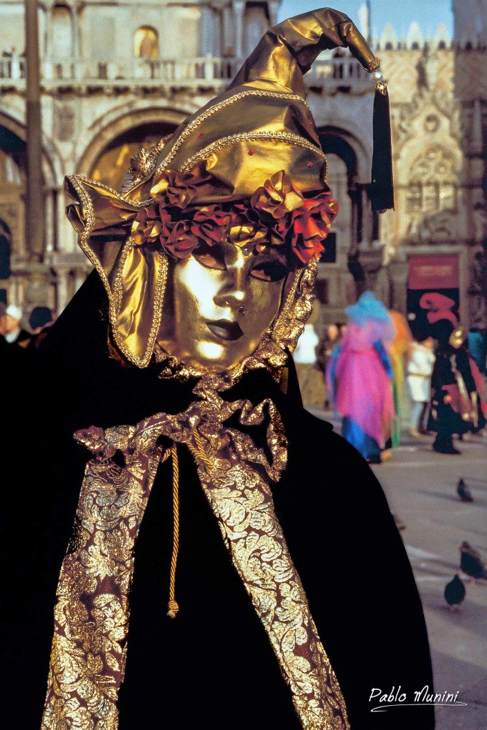 Golden venetian mask. Venice analog photography Pablo Munini.
