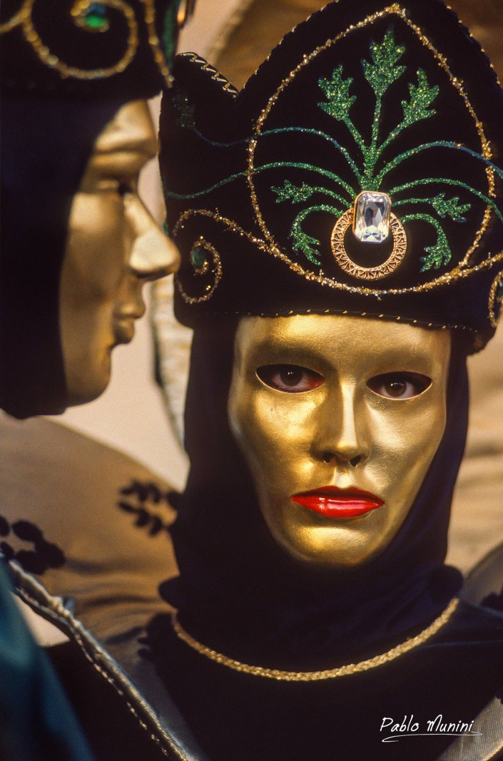 Close up portrait venetian carnival mask,1993.Pablo Munini
