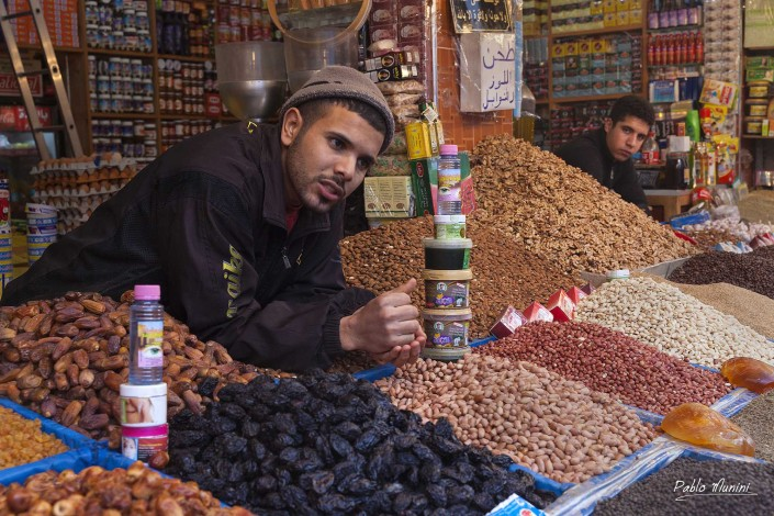 street market spices , Habous souk, Casablanca Morocco. bakeries and street-food vendors. bazaar area artisans selling hand-make oils, linens, shoes spices,