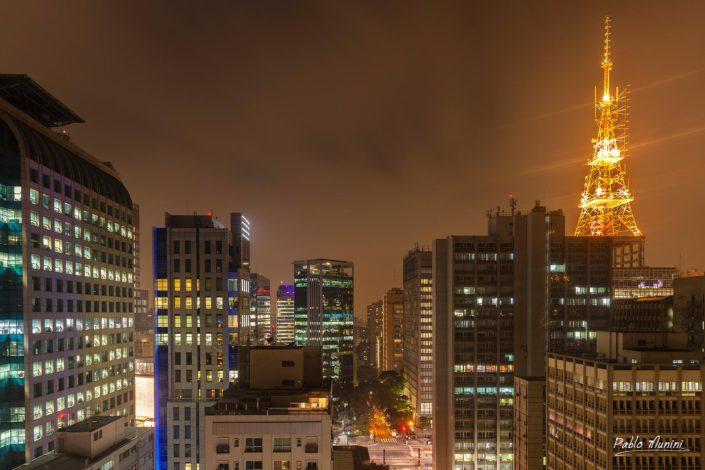 emblematic towers paulista avenue.Gian Carlo Gasperini. yellow illumination tower paulista avenue Eiffel tower.