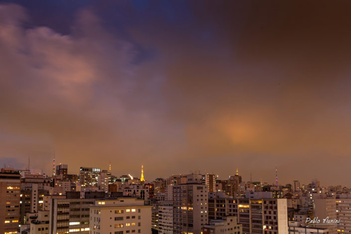 colorful cloudy evening sky São Paulo skyline photography. skyscraper, cityscape, downtown, tower block, buildings, metropolis.best photos São Paulo.