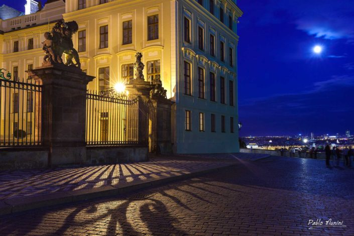 moon Prague entrance Prague castle night photography. largest ancient castle in the world.office President Republic.Gothic cathedral Romanesque Basilica