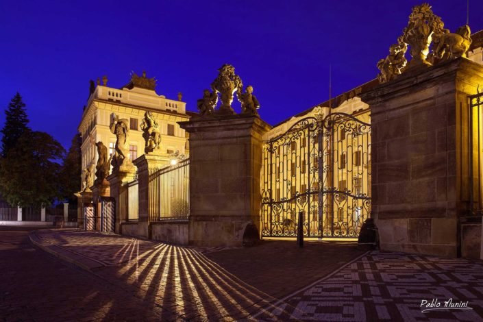 entrance Prague castle night photography largest ancient castle world.office President Republic.Gothic cathedral Romanesque Basilica.gardens defense towers