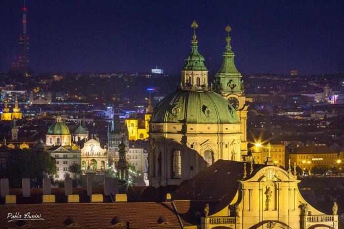 elevated view Prague golden hundred spires historical capital Bohemia. Vltava river. Gothic, Renaissance and Baroque UNESCO list World Heritage Sites Prague