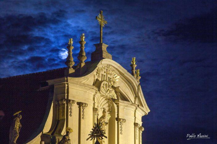 Prague best night photography.Best photos Prague.greatest Baroque church in Prague.St. Nicholas Church façade Prague night photography. Baroque church Lesser Town Prague.greatest Baroque church in Prague.greatest Baroque church in Prague