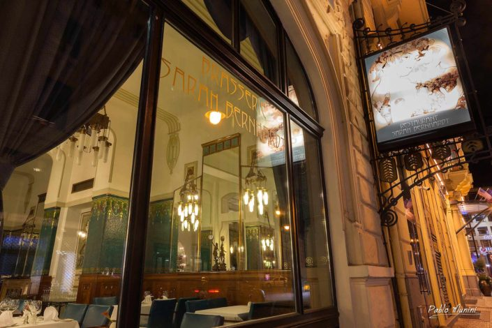 Brasserie Sarah Bernhardt art nouveau Prague night photography. gilded stucco work.Prague's best restaurants.architectural treasure