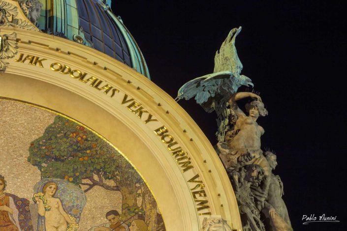 Municipal House. Homage Prague mosaic Karel Špillar. Art Nouveau architecture style. allegorical art and stucco. Smetana Hall.