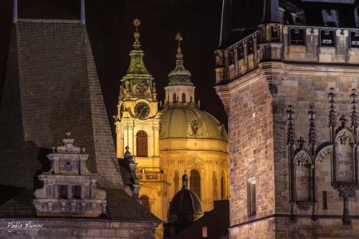towers St. Nicholas Church Charles Bridge side of Lesser town.Prague UNESCO list of World Heritage Sites.30 baroque statues. crossing the river Vltava. alley of baroque statues.golden city of a hundred spires.best photos of Prague.Prague top images.Night photography Prague.
