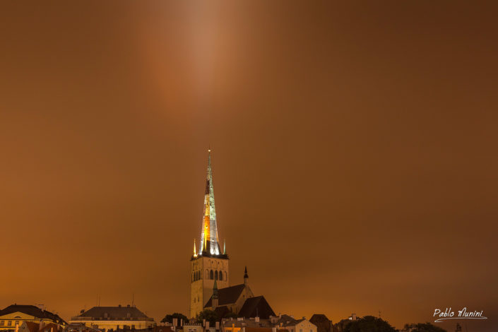 Oleviste kirik, St. Olaf Church, midnight . Tallinn's iconic gothic church.Pablo Munini