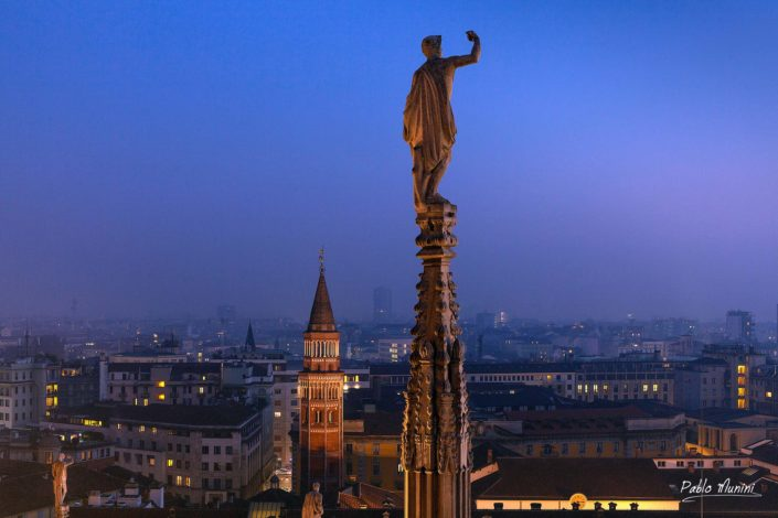 skyline of Milan from the cathedral's roof , view of San Gottardo in corte church.Pablo Munini