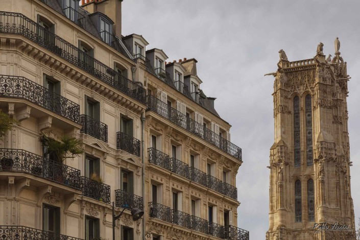 Saint-Jacques Tower typical buildings of Rivoli street, Paris .Pablo Munini
